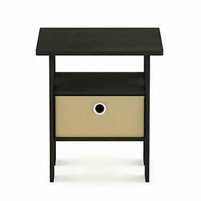 End Table Bedroom Night Stand w/Bin Drawer, Espresso/Brown