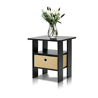 Furinno End Table Night Stand Espresso/Brown