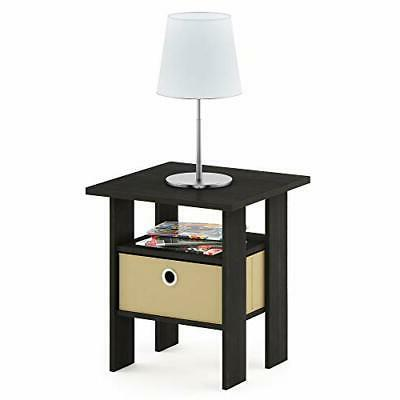 Furinno End Night Stand w/Bin Espresso/Brown