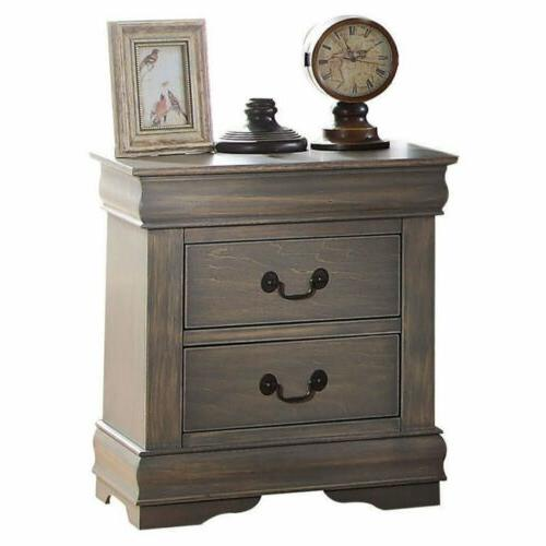 Gray Finish Nightstand Bedside Table 2 Drawers End Side Acce