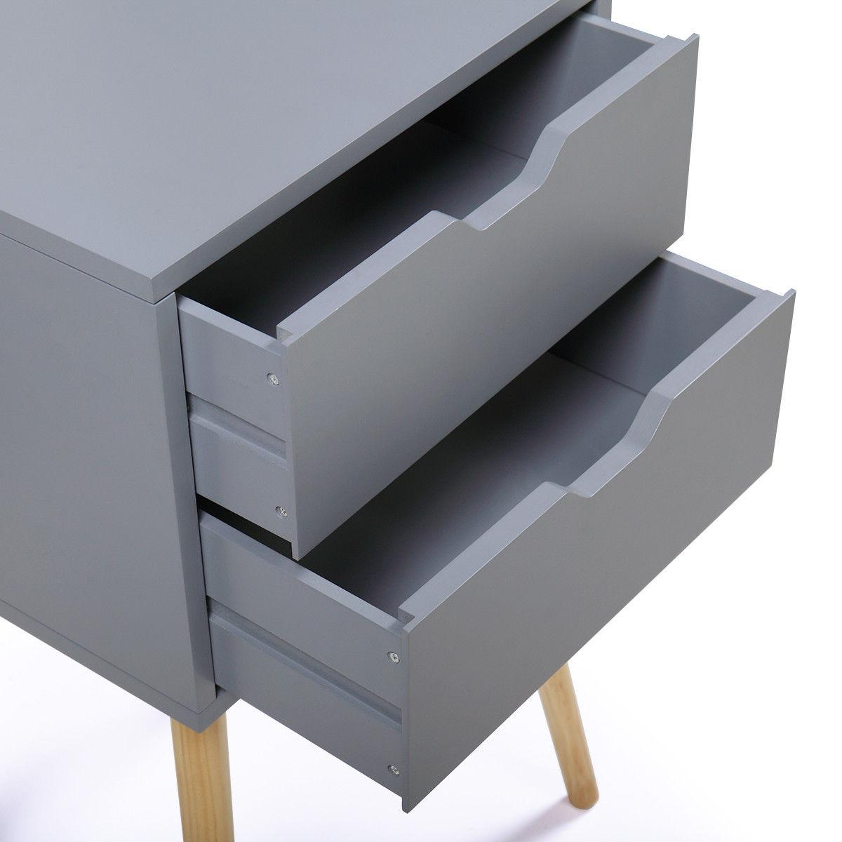 Gray Bedside Table Sofa End Night Stand Drawer