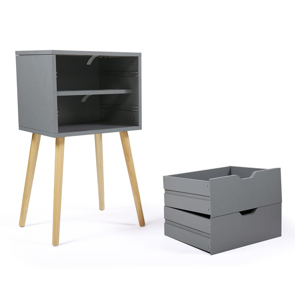 Gray Nightstand Bedside Table Sofa End Night Stand with 2 Drawer