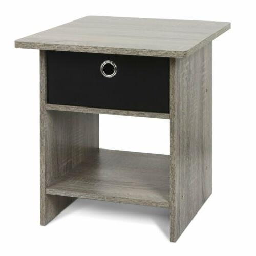 Gray Oak Wooden Night Stand Side End Table Black Fabric 1 Dr