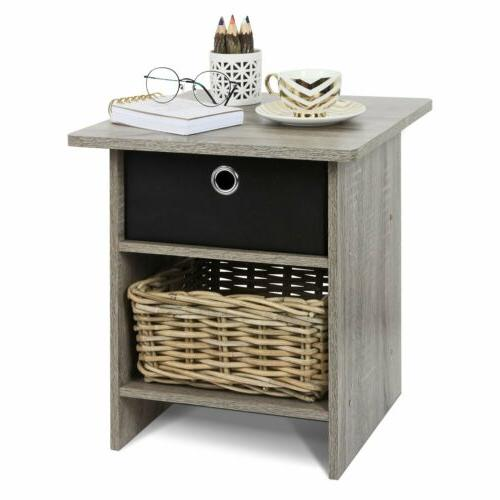 gray oak wooden night stand side end