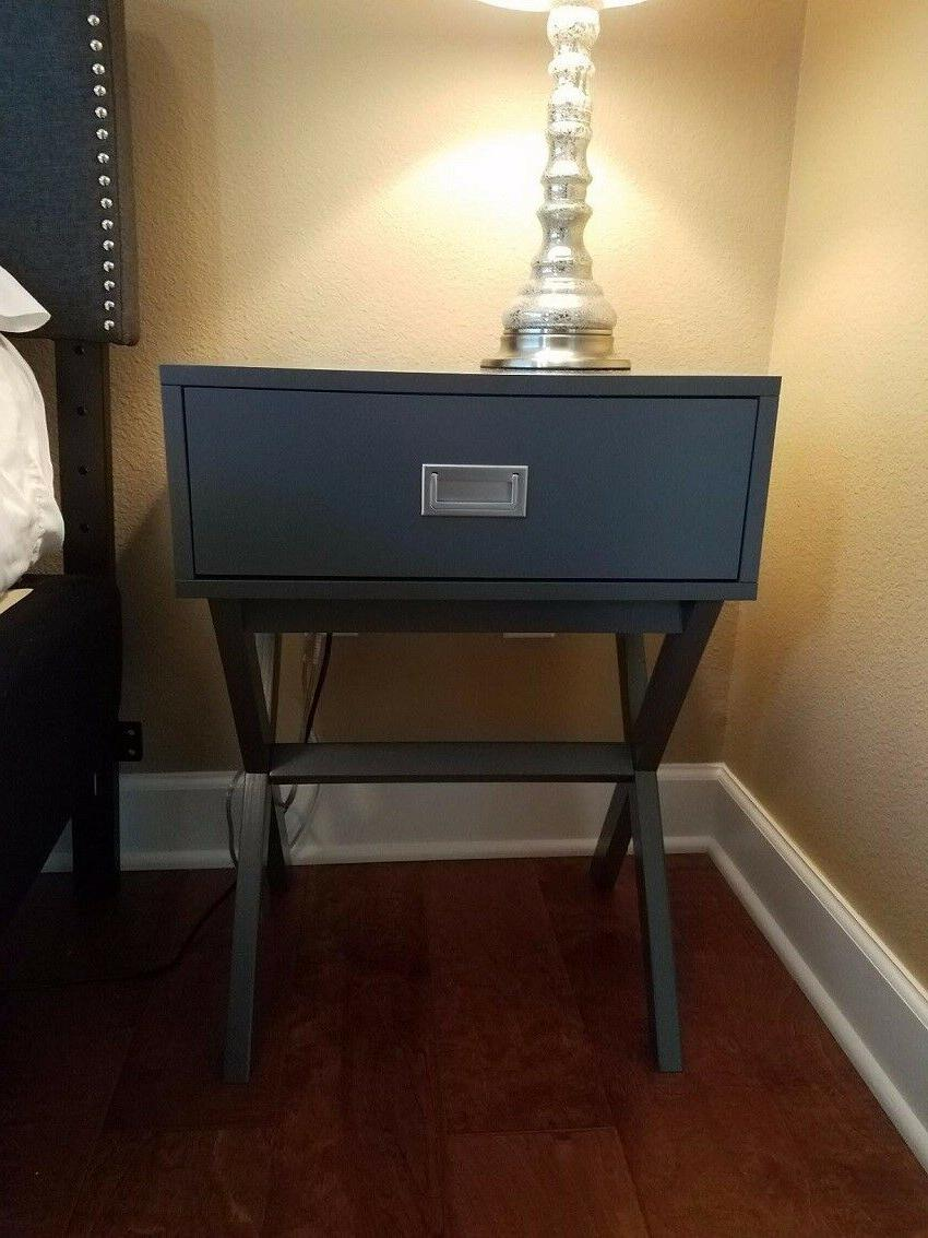 Grey Modern With Nightstand