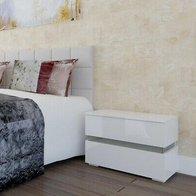 High Nightstand With LED Table Bedroom Furniture