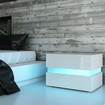 high gloss nightstand with led light bedside