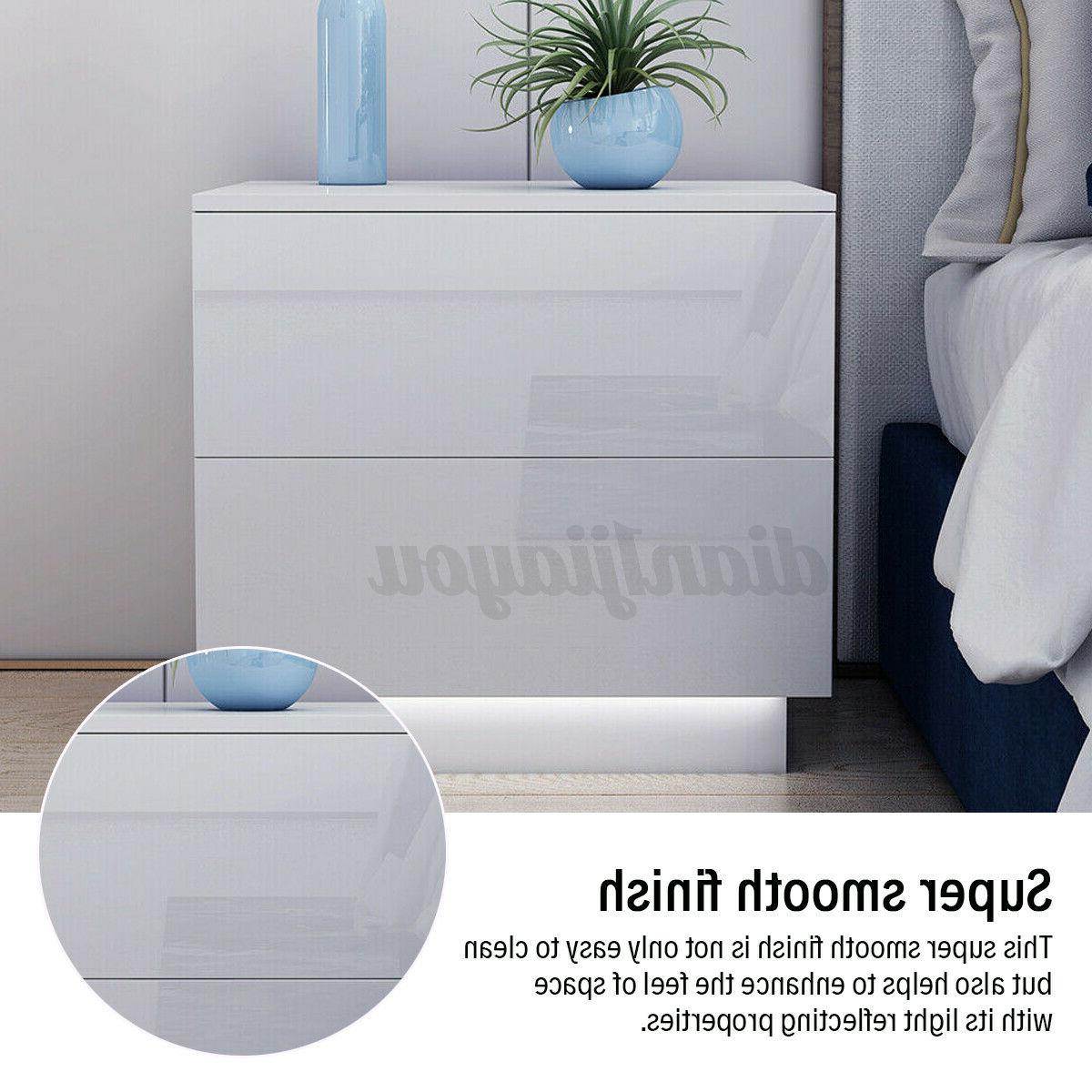 High Nightstand 2 Drawers Table Light