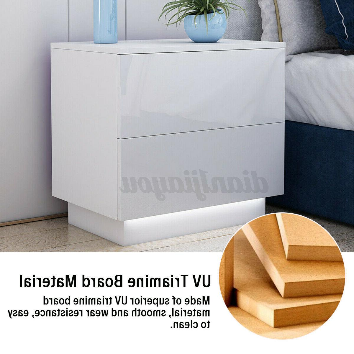 High Gloss Nightstand Drawers Modern Bedside Table w/LED Light