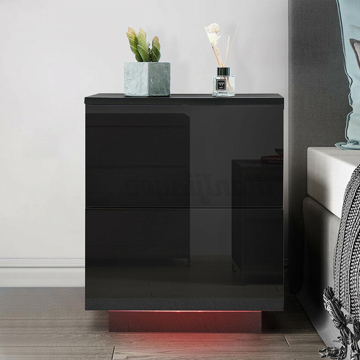 high gloss nightstand 2 drawers modern bedside