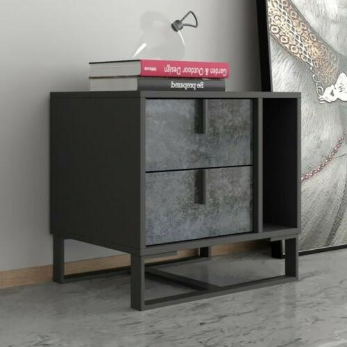 Homary Gray Nightstand Bedside Cabinet with 2 Drawers Open S