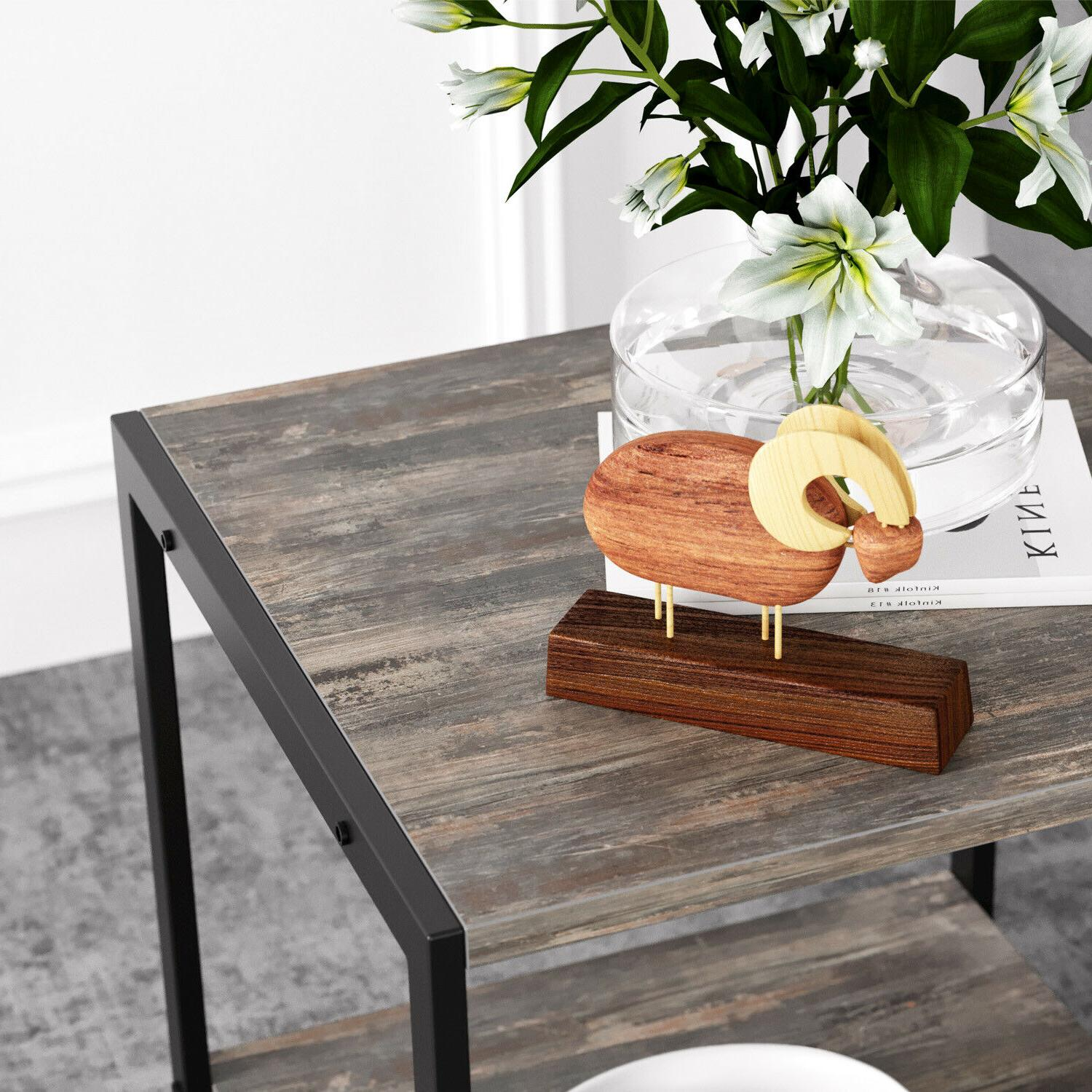 IRONCK 2-Tier End Table, Stand Side Table