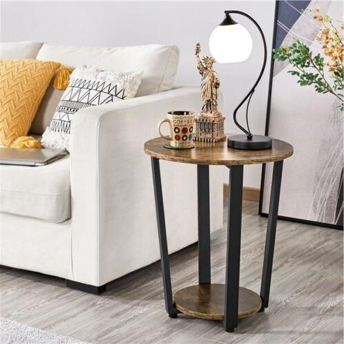 Industrial Round Side Table with Storage End Sofa Night Stan