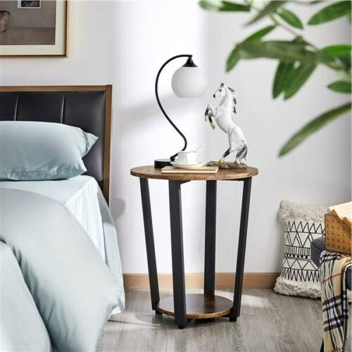 Industrial Round Side with Storage Night Stand Metal Frame