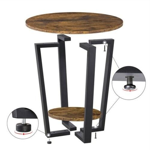 Industrial Round with Night Table Frame
