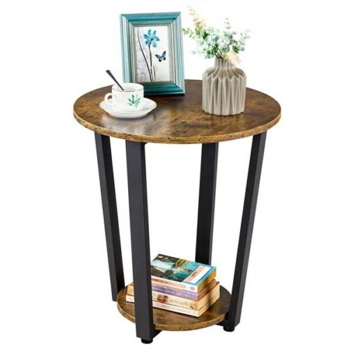 Industrial Round Side Table with End Night Stand Frame