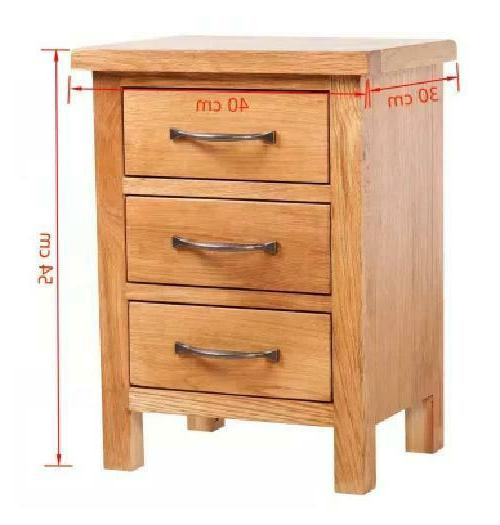 Kcasa Solid Oak Nightstand 3 Storage Drawers Bedroom Stand