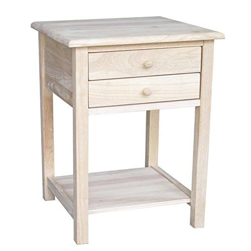Lamp Side Table Living Room Bedroom Square Unfinished Wood 2