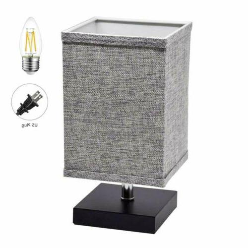3 Types LED Fabric Bedside Table Nightstand Lamp Square Offi