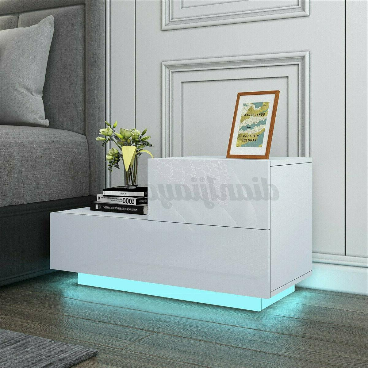 LED RGB Nightstand High Drawer End Table Bedroom