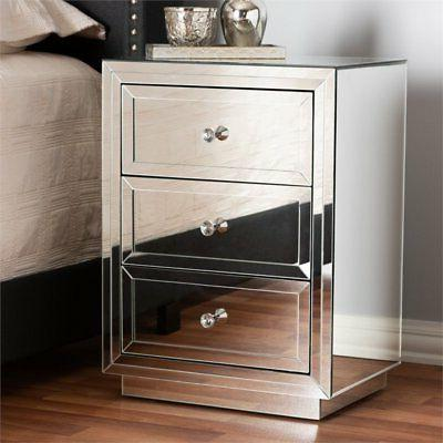 Baxton Lina Mirrored Drawer Table