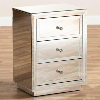 Baxton Studio Lina Mirrored Three Drawer Table