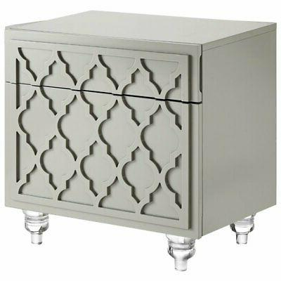 lydia grey glossy modern nightstand lacquer finish