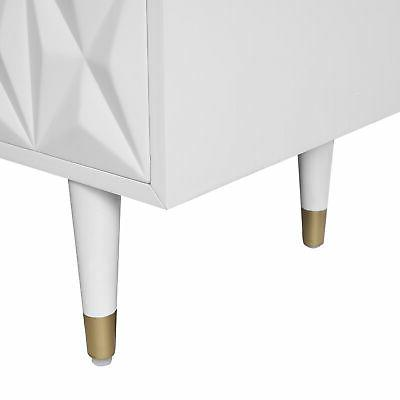 Linon And Solid Wood Stand White And Gold