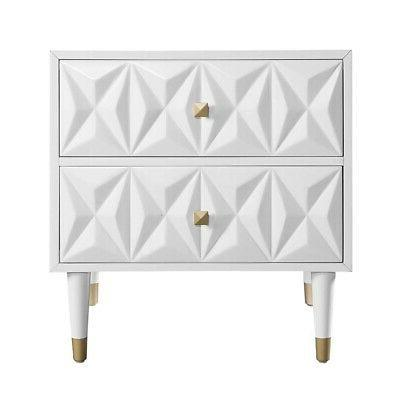 Linon Mdf Solid Wood Night Stand White BD53WHT01AS