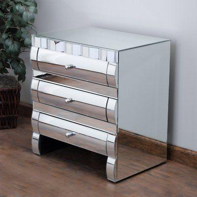 memphis mirrored 3 drawer nightstand silver