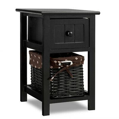 Mini Night Stand 2 Layer 1 Drawer Bedside End Table Home Woo