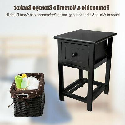 Mini Night Stand Layer Drawer End Home Basket