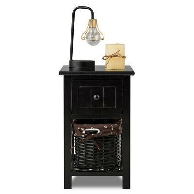 Mini Night 2 Layer 1 Bedside End Table Wood Basket