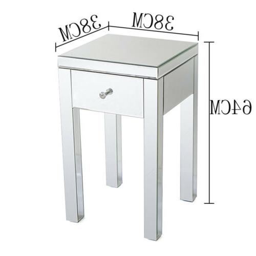 Mirrored Table Sofa Nightstand Bedside Bedroom Furniture Cabinet Table