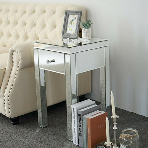 Mirrored Drawers Table Sofa Nightstand Bedroom Cabinet