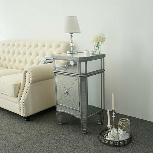 Mirrored Drawers Table Nightstand Bedside Bedroom Cabinet Table