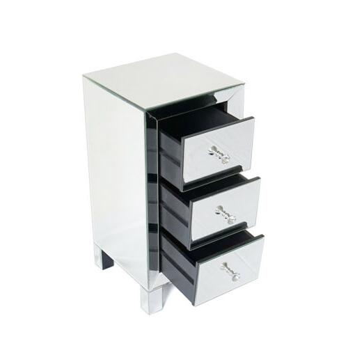 Mirrored Nightstand Furniture Cabinet
