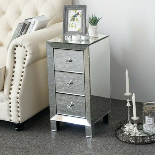 Mirrored Table Nightstand Bedside Cabinet