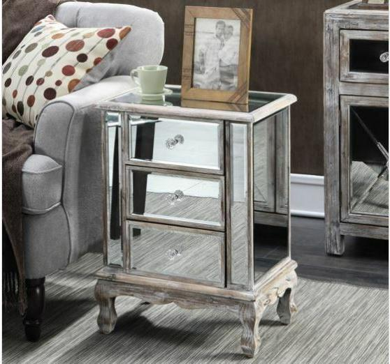 Mirrored Nightstand Bedroom Furniture End Table 3 Drawers St