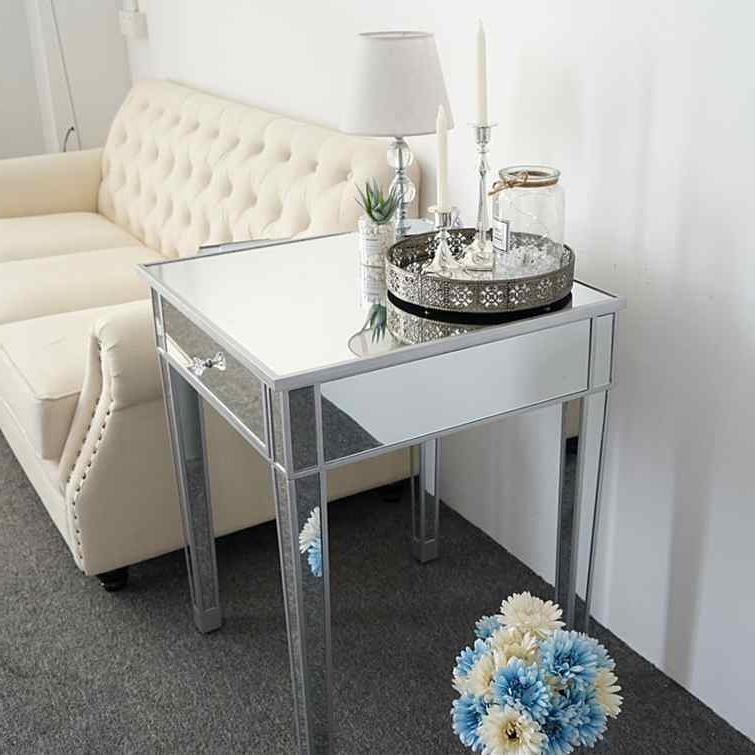 modern contemporary large 1 drawer mirrored nightstand