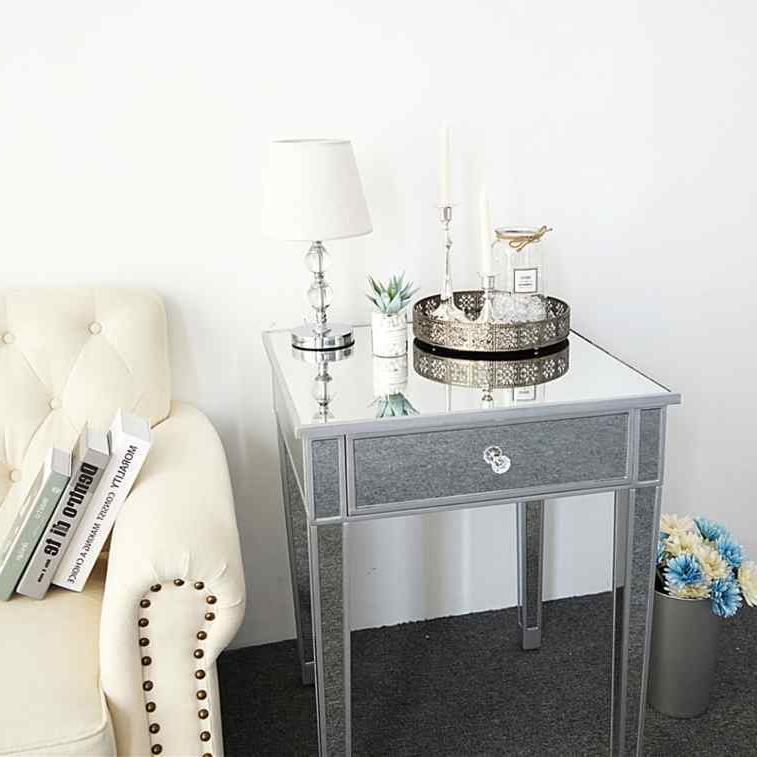 Modern Drawer Mirrored Bedside Table Square