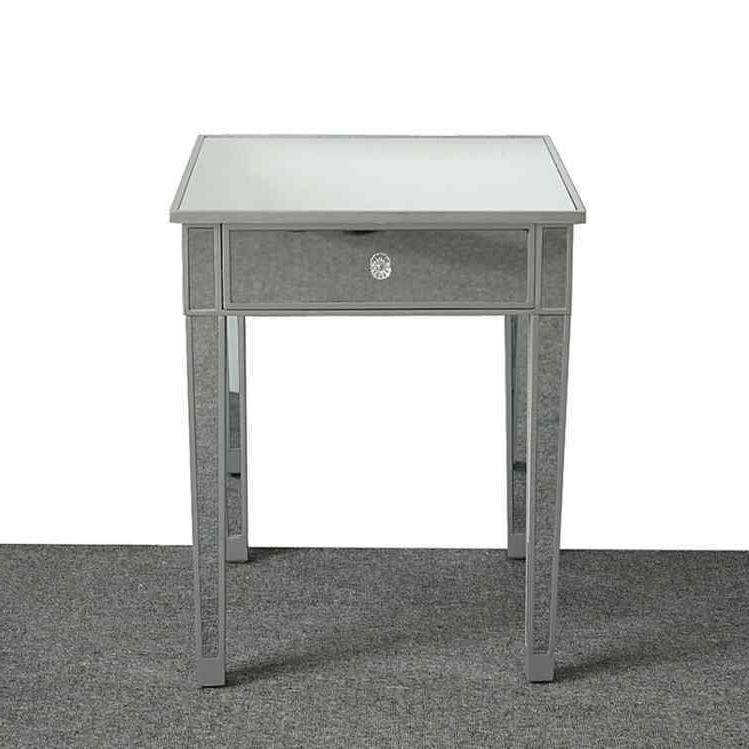 Modern Contemporary Large 1 Drawer Mirrored Bedside Table Square