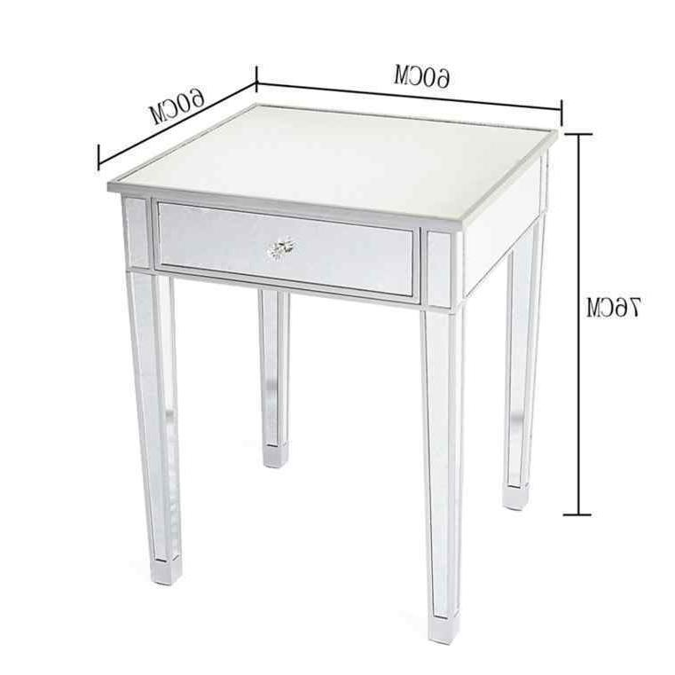 Modern Contemporary Large 1 Drawer Mirrored Table Square