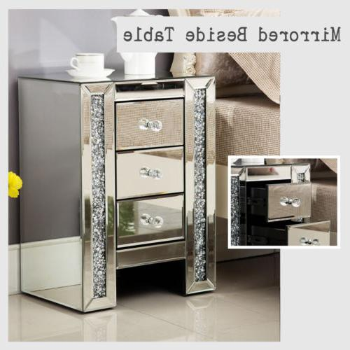 modern mirrored glass crystal 3 drawer bedside