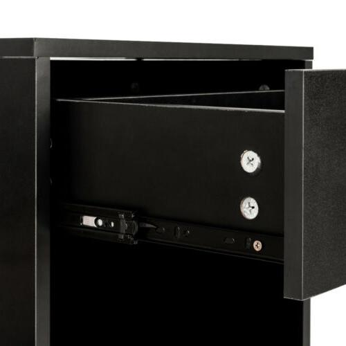 Set Bedside Wood Nightstand with Storage End