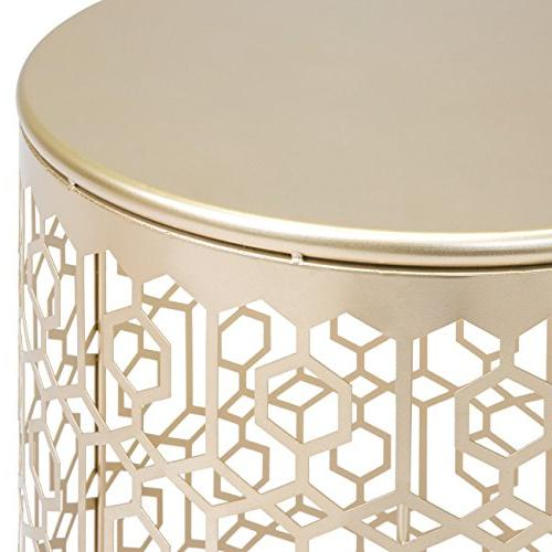 Best of 2 Decorative Nesting Round End Accent Nightstands for Bedroom, Room, Gold