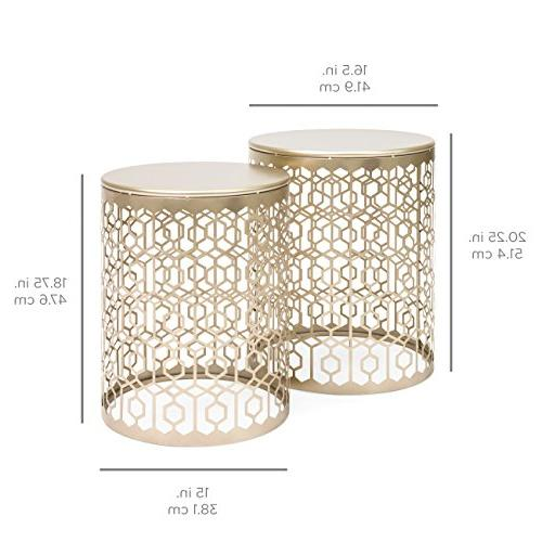 Best Choice of Indoor Decorative Nesting Side End Coffee Table Nightstands for Bedroom, Room, Patio, Gold