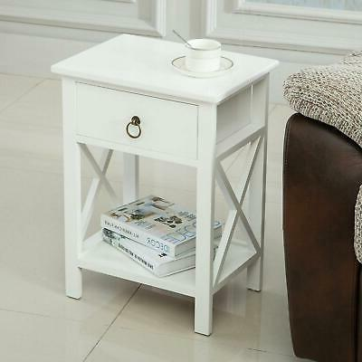 New 2 End Side Bedside Table Organizer White