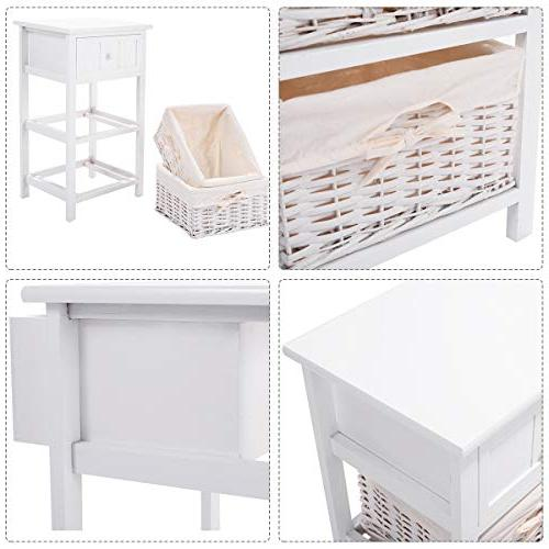 Giantex Nightstand W/Storage Drawer, 2 Open Shelf for Bedside Sofa White Table