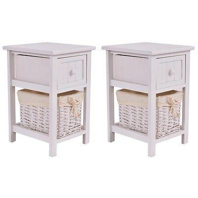 Costway Set of 2 Night Stand 2 Layer 1 Drawer Bedside End Ta